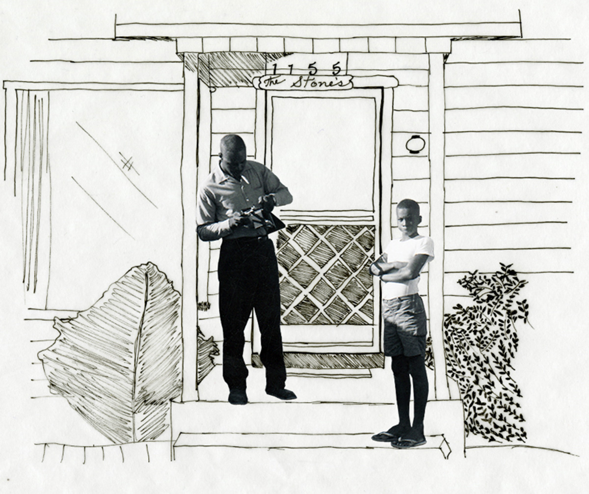 Photo illustration: Thomas Edison Stone and his son in front of their first home in Arroyo Grande, CA. October 1965.