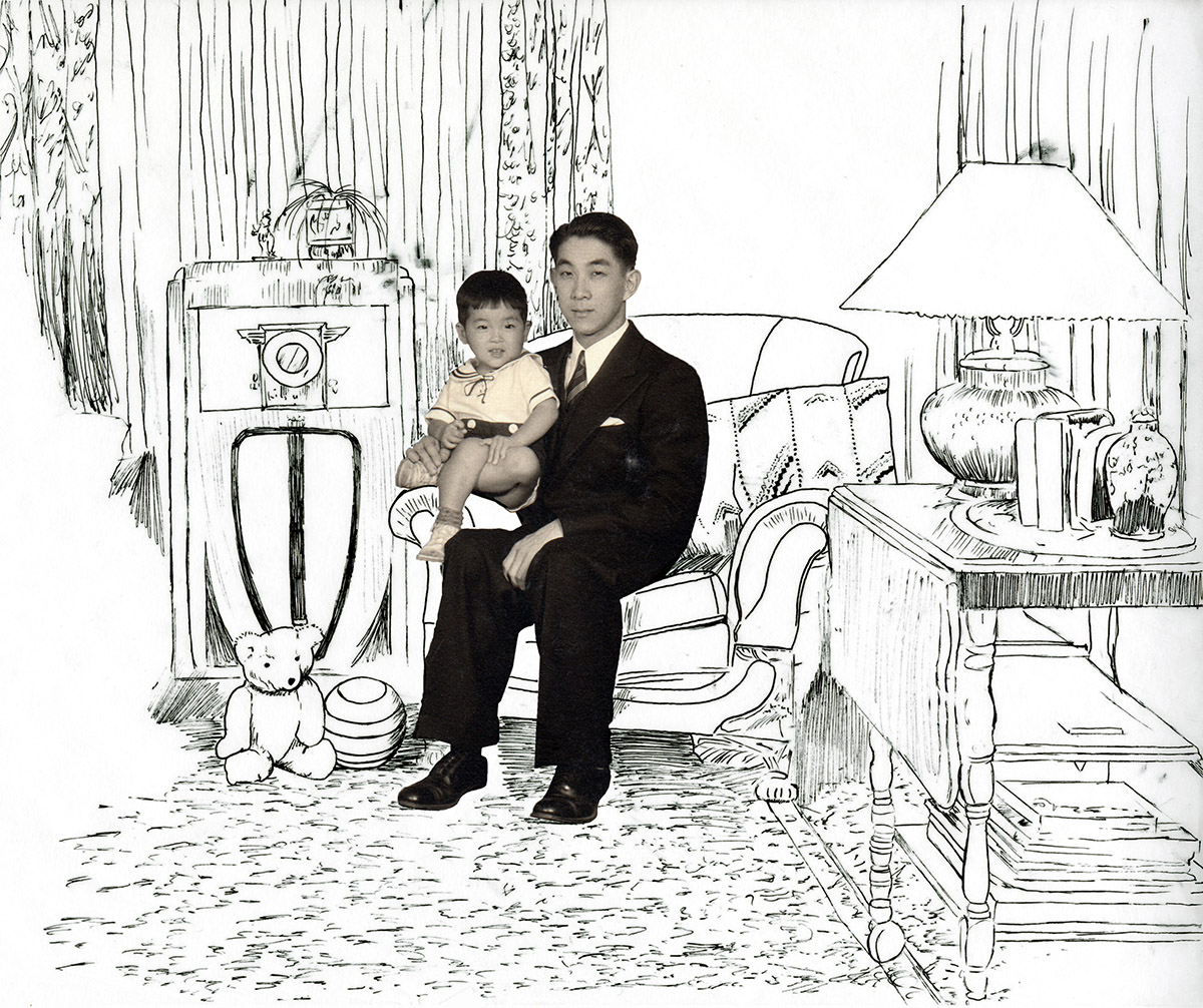 Photo Illustration: Mutsuko and Ken Kitasako with their son, Edwin Tetsuo, who was their first-born child. Guadalupe, CA. c. 1935.