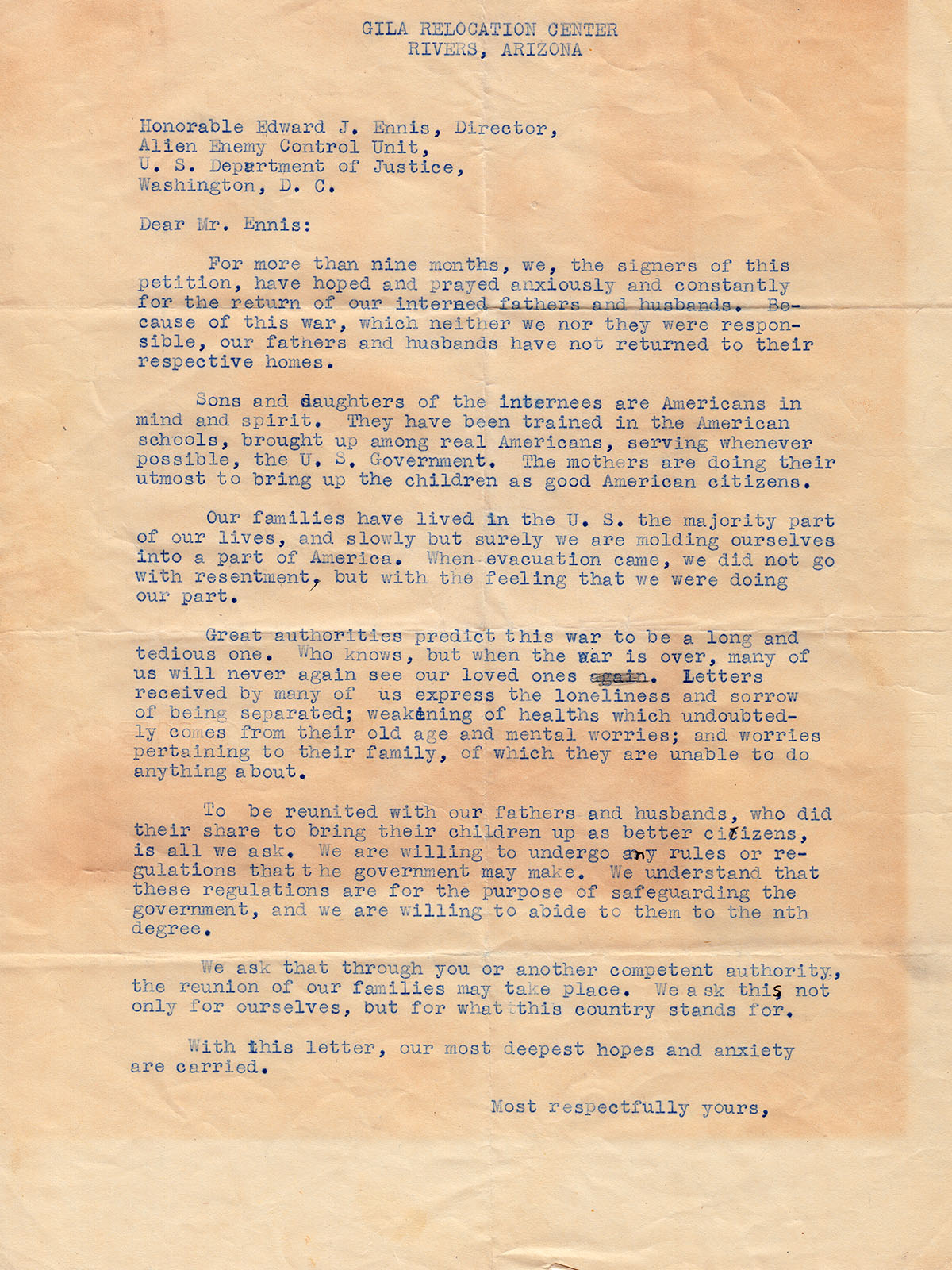 Petition letter to Edward J. Ennis, director of the Alien Enemy Control Unit of the U.S. Department of Justice from Gila Relocation Center, Arizona.