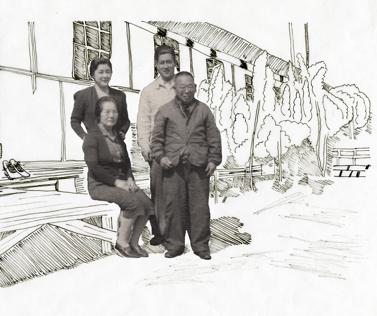 Photo Illustration: Family of four sitting on bench at Internment camp