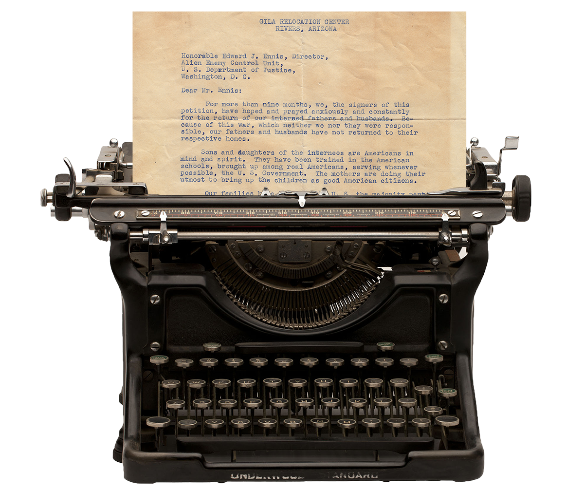 Ken Kitasako's typewriter with Petition letter to Edward J. Ennis