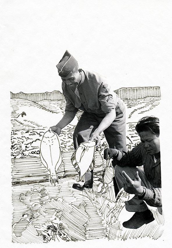 Two soliders fishing, one kneeling and the other half bent over, grinning, holding two fish