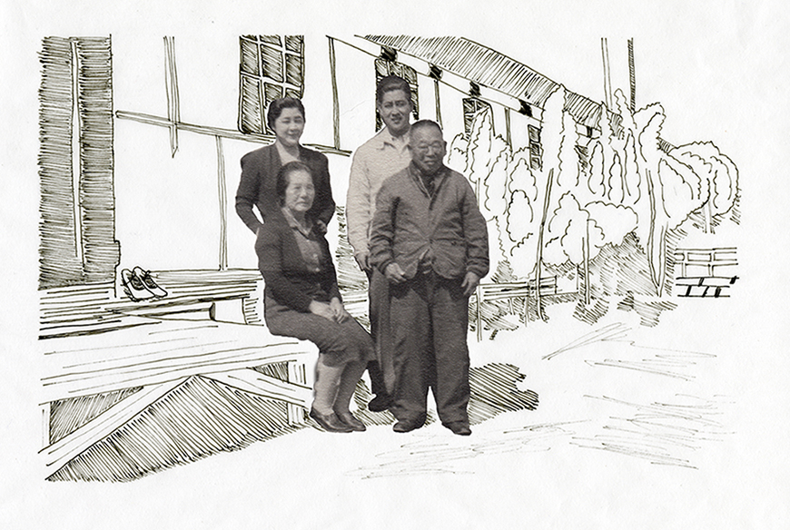 A Japanese family outside the internment camps, the background hand drawn by a student