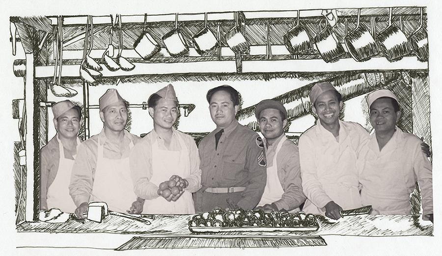 A row of men behind a table in a kitchen, pans hanging above them, with the background hand drawn