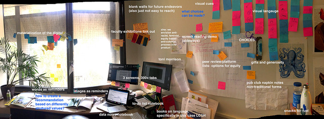 wide panorama of a messy office, with lots of sticky notes on the walls
